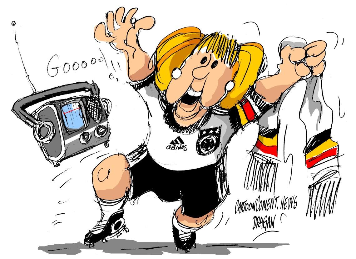 Angela Merkel se relaja oyendo fútbol por la radio