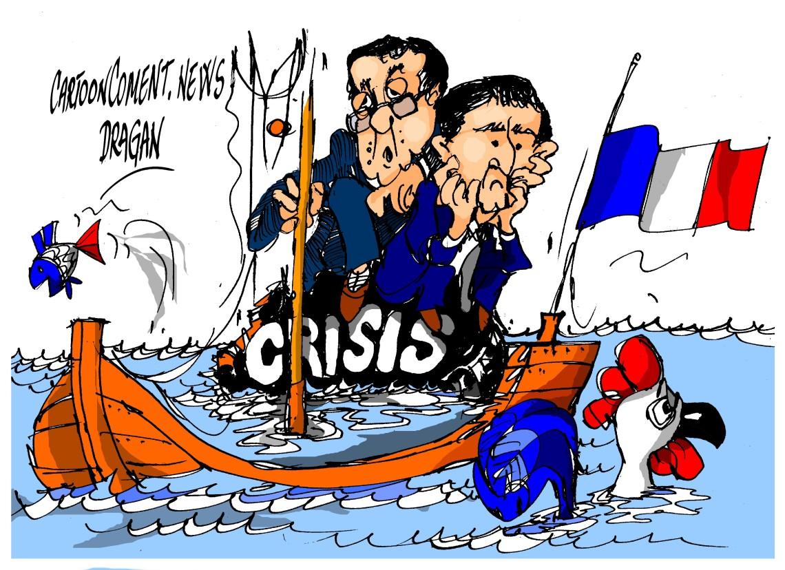 François Hollande-Manuel Valls- 'hundimiento'